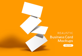 Stack of business cards on a orange background. Brand identity mockup design with shadows. Vector illustration.