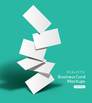 Set of realistic business cards. Brand identity mockup design with shadows. Vector illustration.