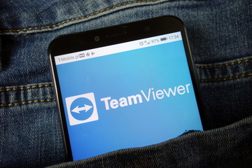 KONSKIE, POLAND - November 24, 2019: TeamViewer app logo on mobile phone