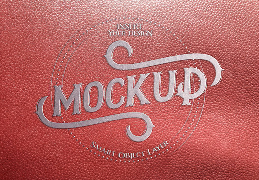 Metal-Embossed Red Leather Text Effect
