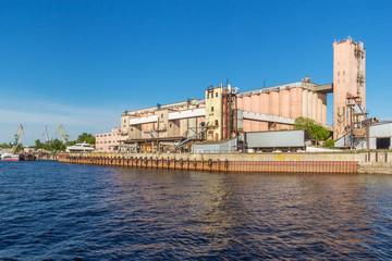 Industrial enterprise on the river bank in Kazan