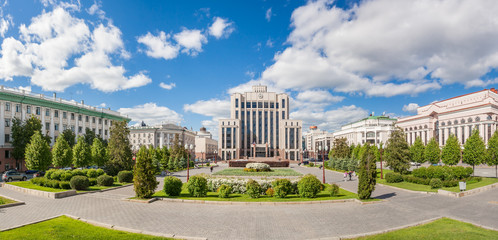 Panorama of Freedom Square in summer in Kazan