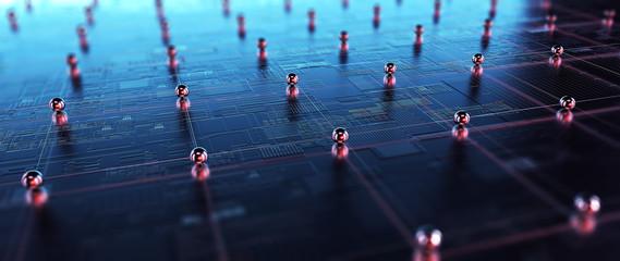 Block chain network. 3D Rendering Wall mural