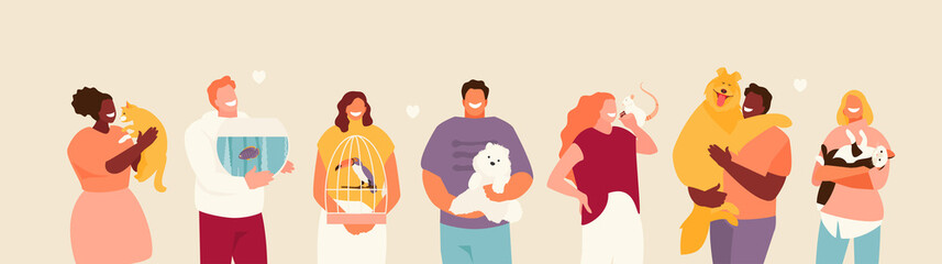 Group of happy people with pets in their arms. Friendship and care for animals vector illustration