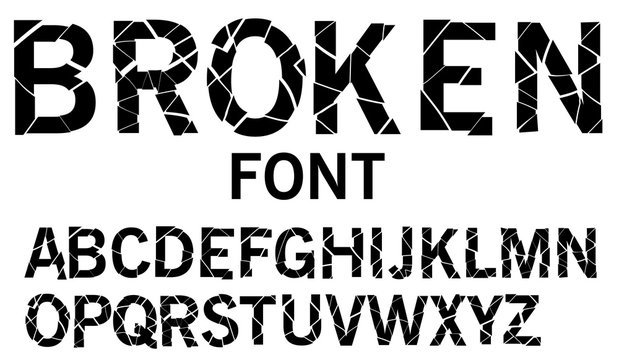 Cracked alphabet vector, broken font uppercase letters, typography isolated on white background. Vector illustration.