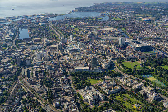 Helicopter aerial of Cardiff City Centre