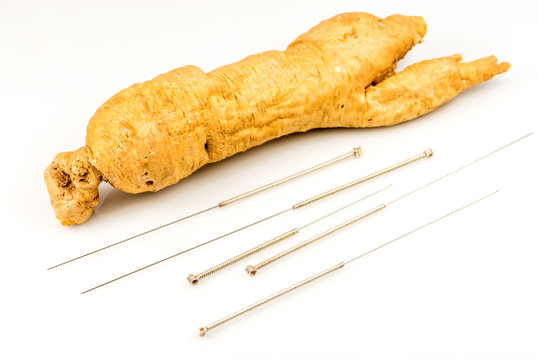 ginseng root and acupunture needles