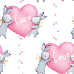 Beautiful seamless watercolor pattern with cute rabbits and pink hearts. Perfect for your project, packaging, wallpaper, cover design, invitations, birthday, valentine's day.