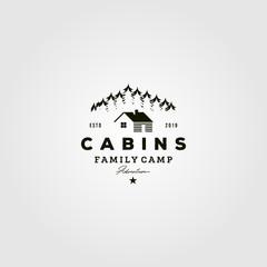 vintage cabins logo vector illustration design