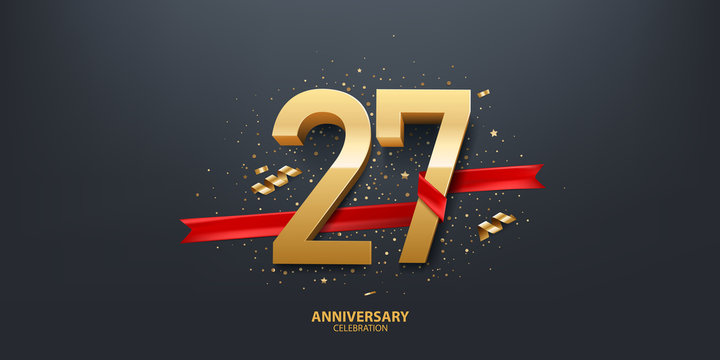 27th Year anniversary celebration background. 3D Golden number wrapped with red ribbon and confetti on black background.