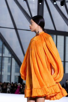 A model presents a creation from the Carolina Herrera Fall 2020 collection during New York Fashion Week