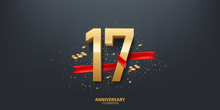 17th Year anniversary celebration background. 3D Golden number wrapped with red ribbon and confetti on black background.