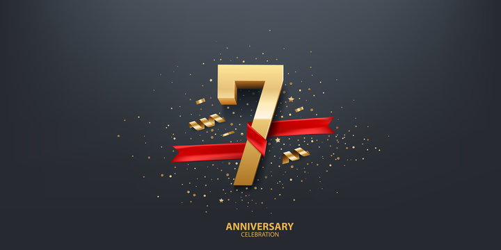 7th Year anniversary celebration background. 3D Golden number wrapped with red ribbon and confetti on black background.