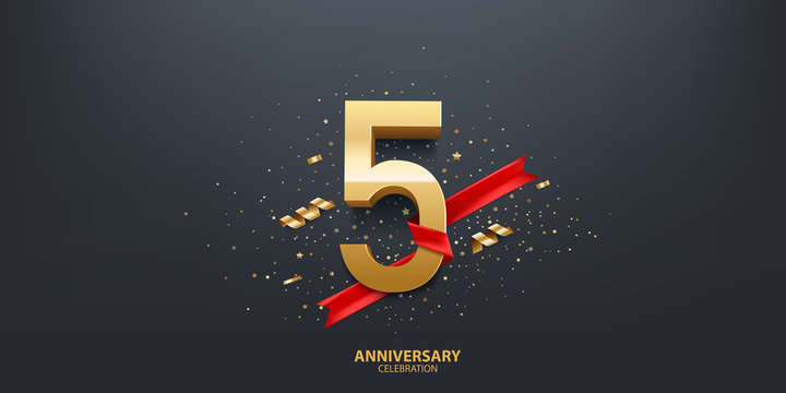 5th Year anniversary celebration background. 3D Golden number wrapped with red ribbon and confetti on black background.