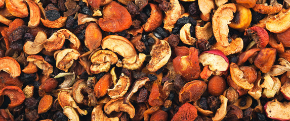 Dried fruits background and texture. Panorama.