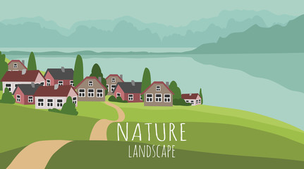 Foto auf Acrylglas Pistazie Vector panoramic illustration of beautiful spring or summer landscape with green hills, village surrounded by mountains and the sea. Background in flat style
