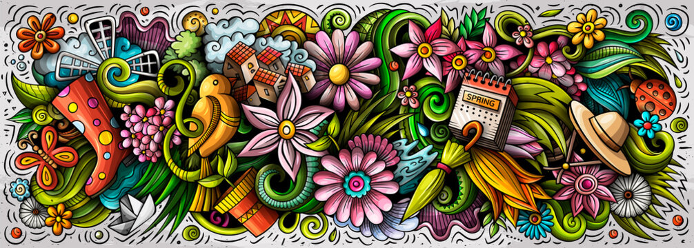 Spring hand drawn cartoon doodles illustration. Colorful vector banner