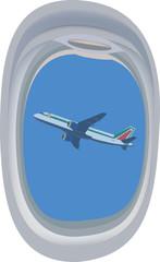 oblò finestrino dell'aereo con in lontananza aereo