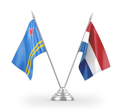 Netherlands and Aruba table flags isolated on white 3D rendering