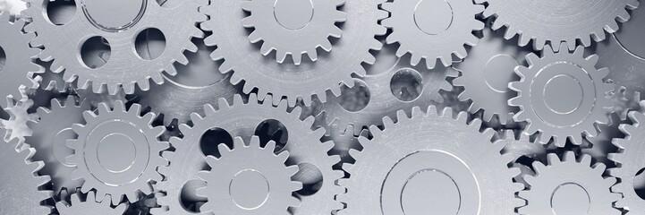 Cogwheel. Gear mechanism. Business cooperation concept. Multiple objects. Metaphor. Industrial engineering. 3d illustration.  Fotomurales