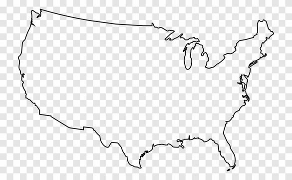 Map of the USA. Map of the United States of America. Transparent card in a flat style on an isolated background.