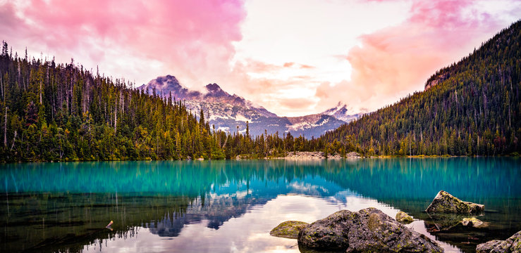 Colorful Mountain sunset view at Upper Joffre Lake