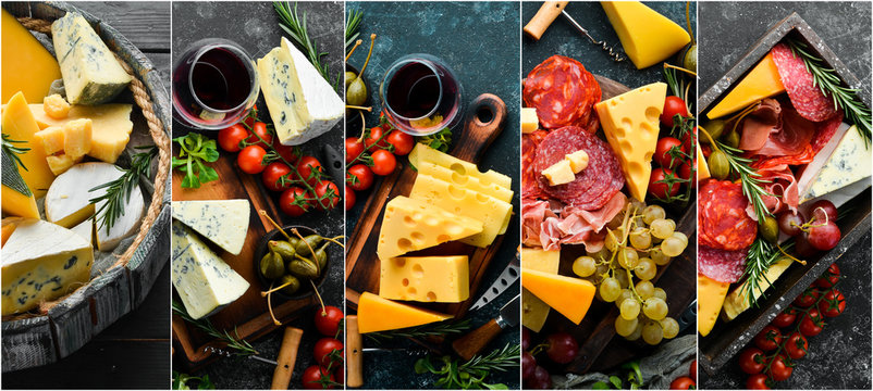Collage. Set of Italian cheeses, meat and snacks. Assortment of antipasto.