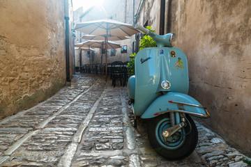 Old Vespa motorbike Erice, Sicily, Italy