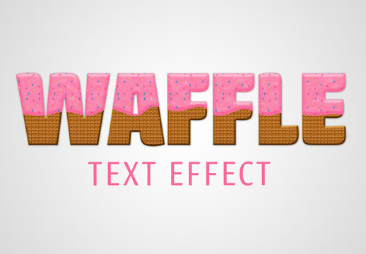 Waffle Text Effect Mockup with Pink Frosting and Color Chips Topping