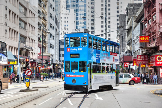 Historic electric tram bus in Central District of Hong Kong