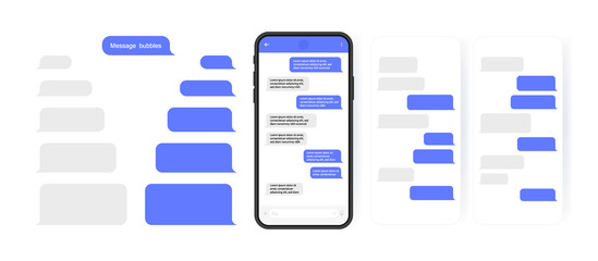 Social media design concept. Smart Phone with carousel style messenger chat screen. Sms template bubbles for compose dialogues. Modern vector illustration flat style