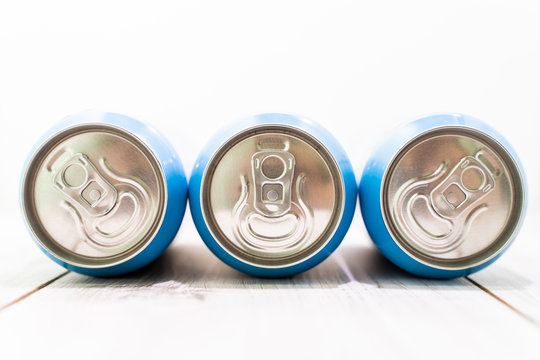 Metal beer or juice cans, stock photo