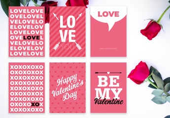 Pink Valentine's Day Postcard Layout Set