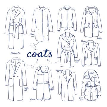 Doodle set of Coat Collection – Duffle Coat, Eggshape, A-Line, Parka, Straight Cut, Down Coat, trenchcoat, Short Coat, blazer, Blouson, hand-drawn. Vector sketch illustration isolated over white back