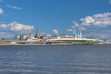 Kazan, Republic of Tatarstan, Russia. Kazan Kremlin with Presidential Palace, Soyembika Tower, Annunciation Cathedral, Qolsharif Mosque, Spasskaya Tower. View from the shore of Kazanka river.