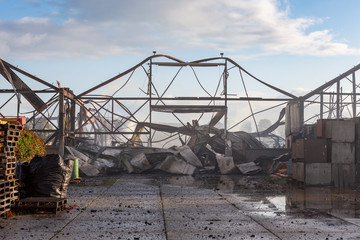 The remains of a burned warehouse in Voorhout, the Netherlands. The day after.