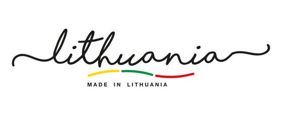 Made in Lithuania handwritten calligraphic lettering logo sticker flag ribbon banner