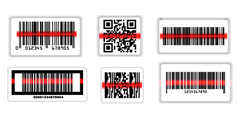 set of various bar code or set of packaging label bar code or qr codes. eps 10, easy to modify