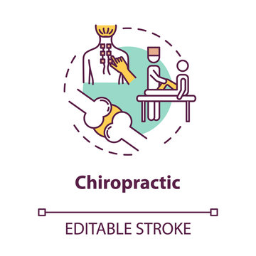 Chiropractic concept icon. Complementary medicine idea thin line illustration. Musculoskeletal systems treatment. Spinal adjustment. Vector isolated outline RGB color drawing. Editable stroke