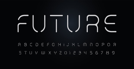 Fotomurales - Future stencil alphabet. Thin segment line font, minimal type for modern futuristic logo, elegant monogram, digital device, posters and hud web graphic. Minimal style letters, vector typography design