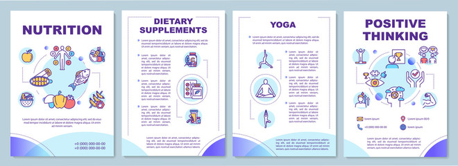 Poster Positive Typography Healthy lifestyle brochure template. Complementary medicine flyer, booklet, leaflet print, cover design with linear icons. Vector layouts for magazines, annual reports, advertising posters