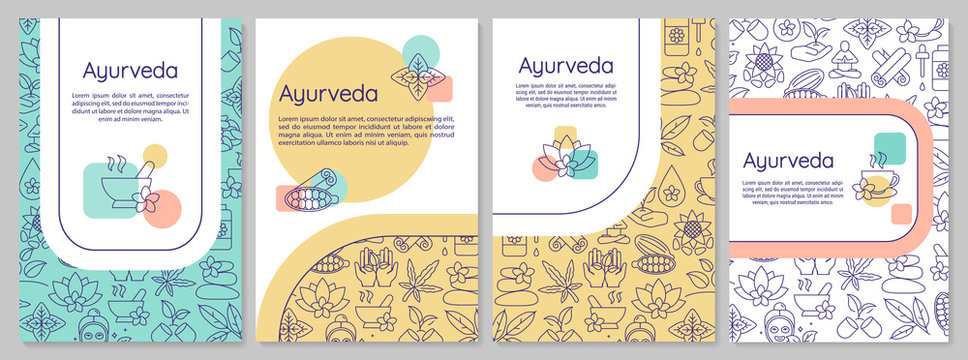 Ayurveda brochure template. Ayurvedic medicine flyer, booklet, leaflet print, cover design with linear icons. Alternative therapies. Vector layouts for magazines, annual reports, advertising posters