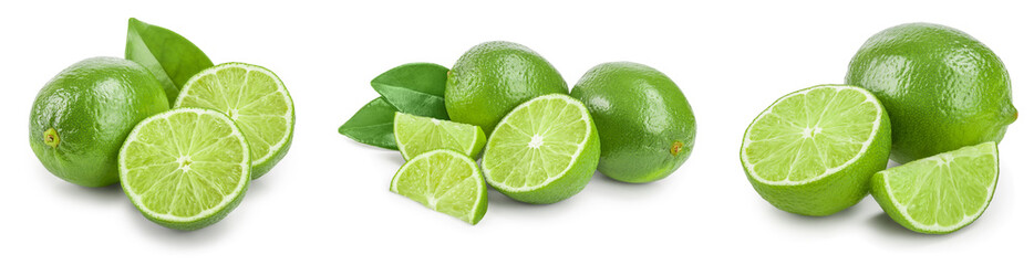 lime with half and leaf isolated on white background. Set or collection Wall mural