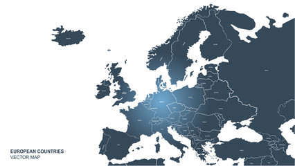 countries design vector of europe map. world map. eu map infographic background. Fototapete