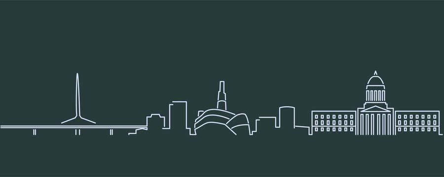 Winnipeg Single Line Skyline Profile