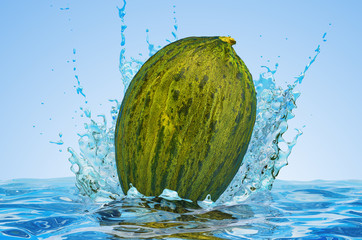 Christmas Melon with water splashes, 3D rendering