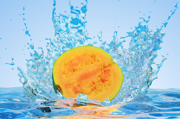 Common guava cut in half with water splashes, 3D rendering