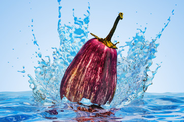 Eggplant with water splashes, 3D rendering
