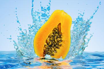 Papaya cut in half with water splashes, 3D rendering