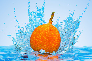 Passion fruit granadilla with water splashes, 3D rendering